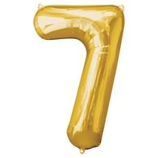 Gouden folieballon - Cijfer 7 - 86cm