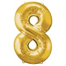 Gouden folieballon - Cijfer 8 - 86cm