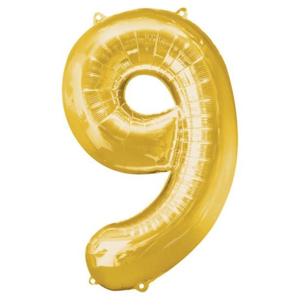 Gouden folieballon - Cijfer 9 - 86cm