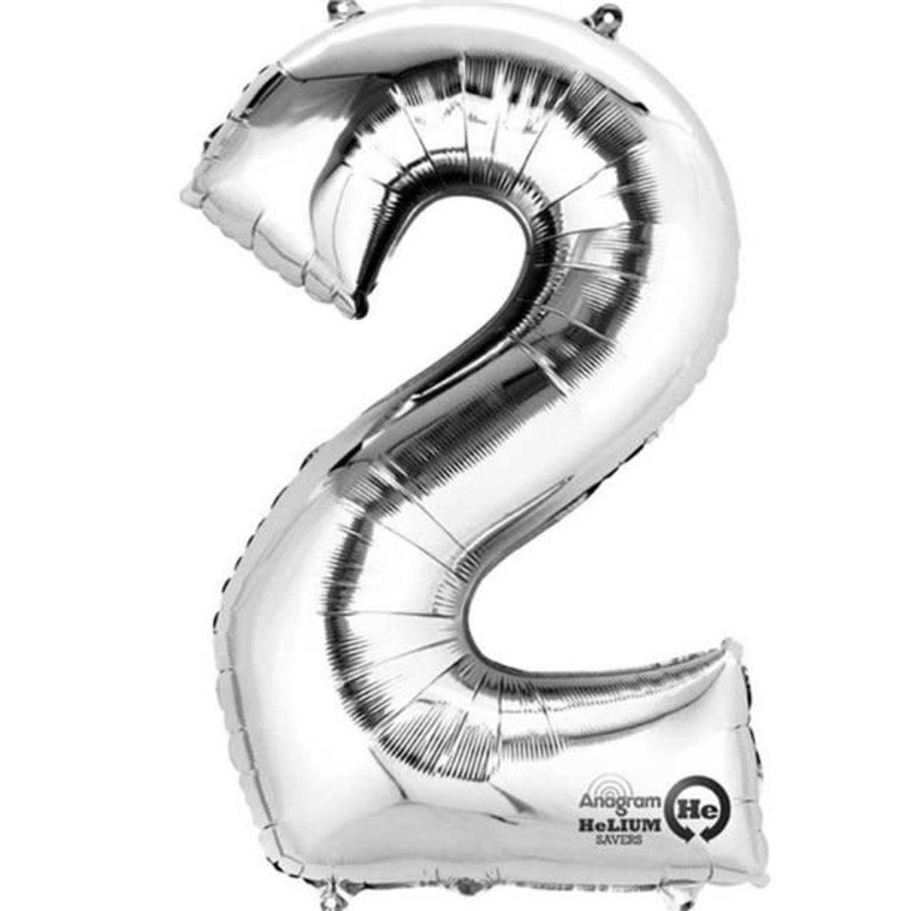 Zilveren folieballon - Cijfer 2 - 86cm