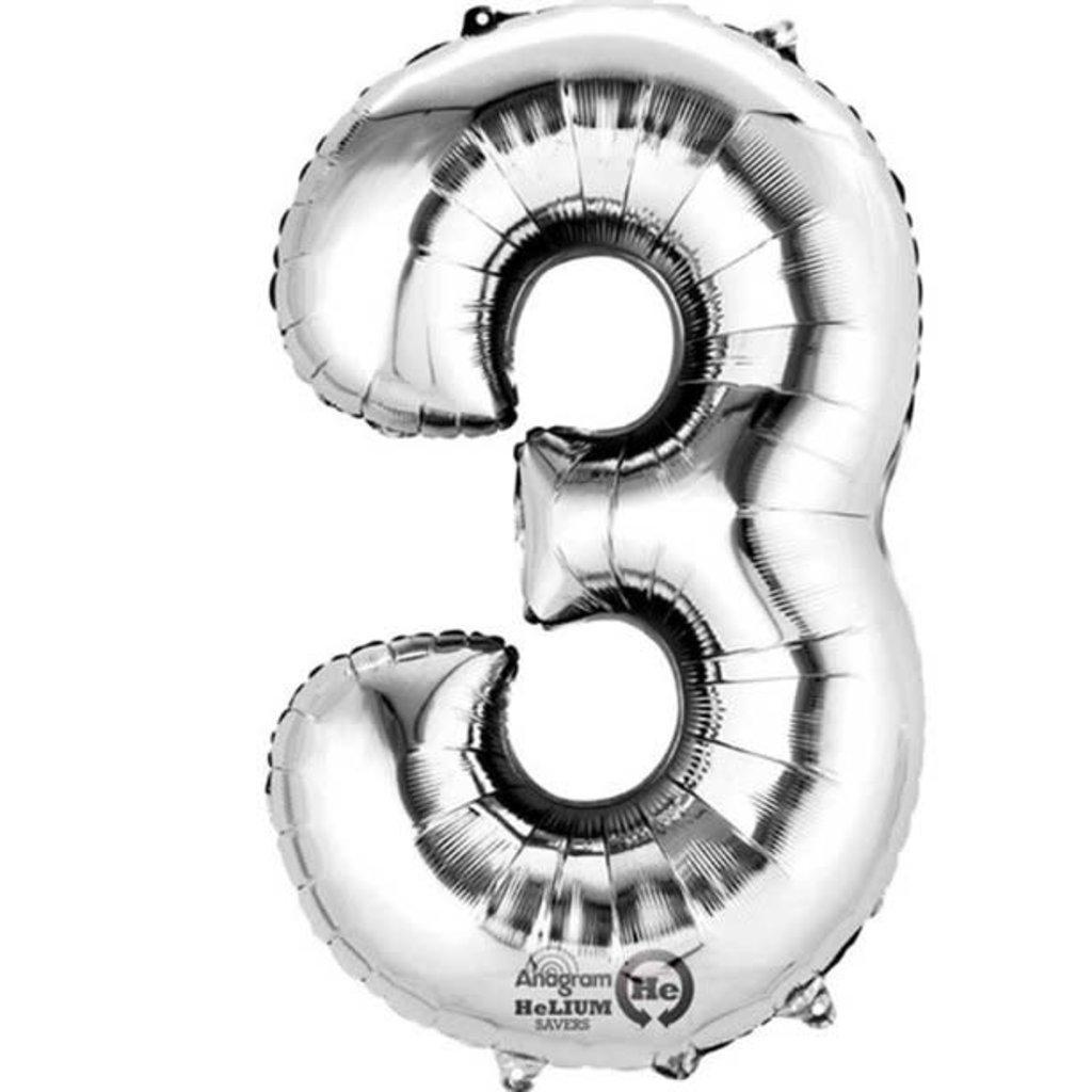 Zilveren folieballon - Cijfer 3 - 86cm