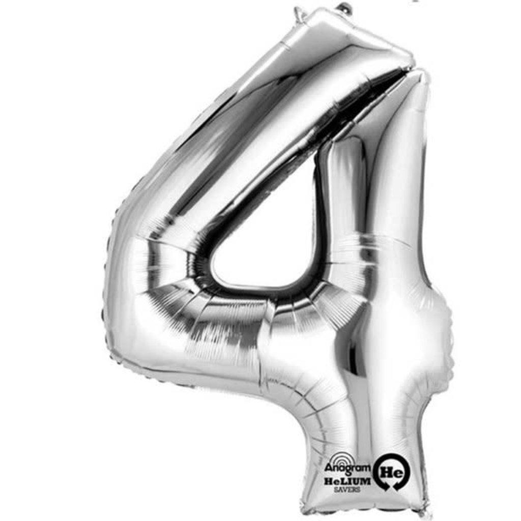 Zilveren folieballon - Cijfer 4 - 86cm