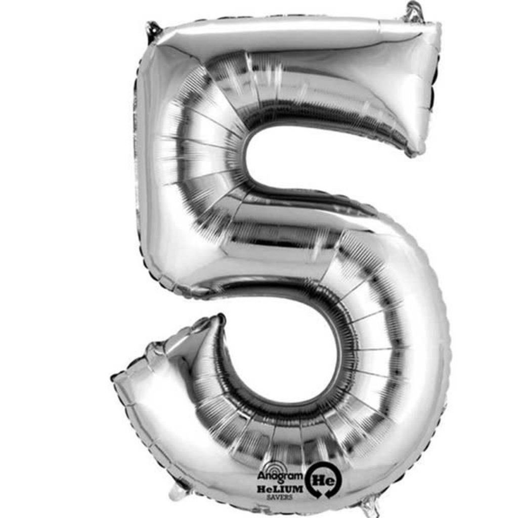 Zilveren folieballon - Cijfer 5 - 86cm