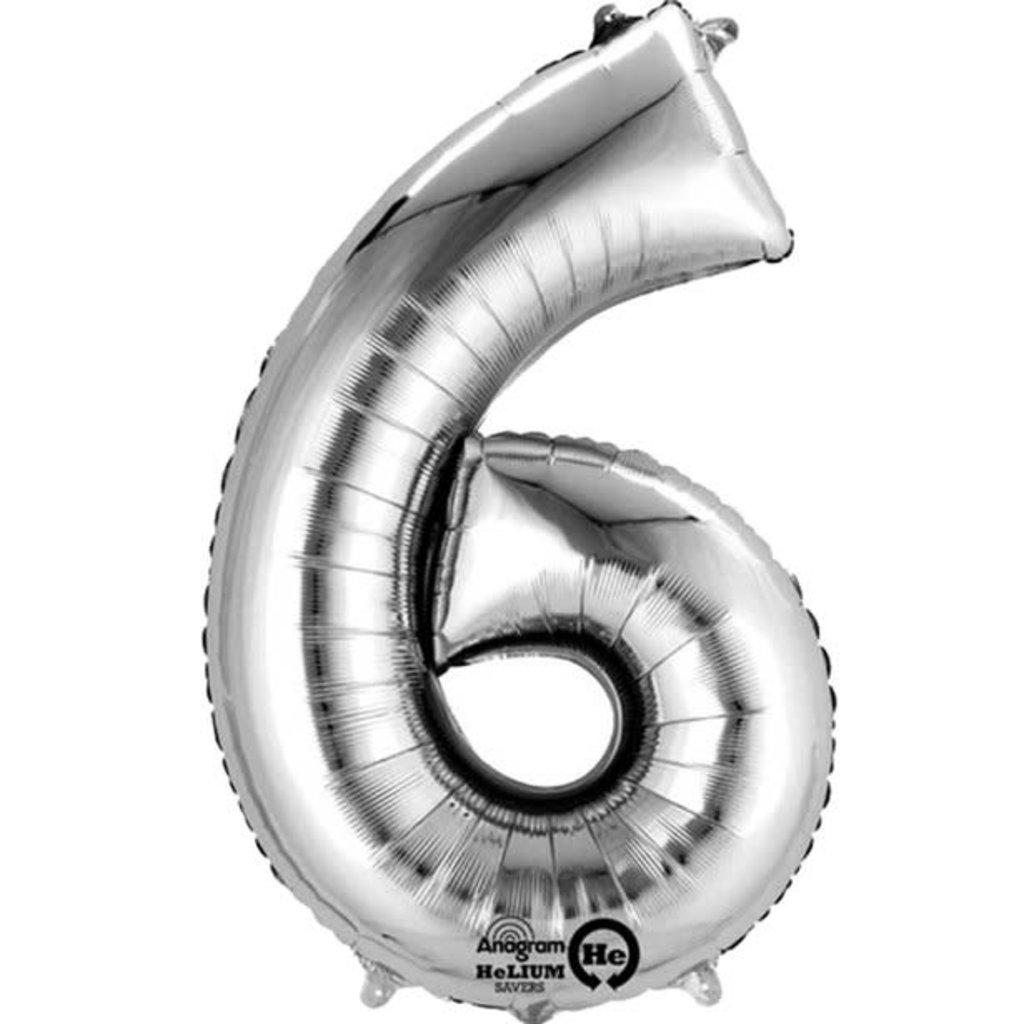 Zilveren folieballon - Cijfer 6 - 86cm