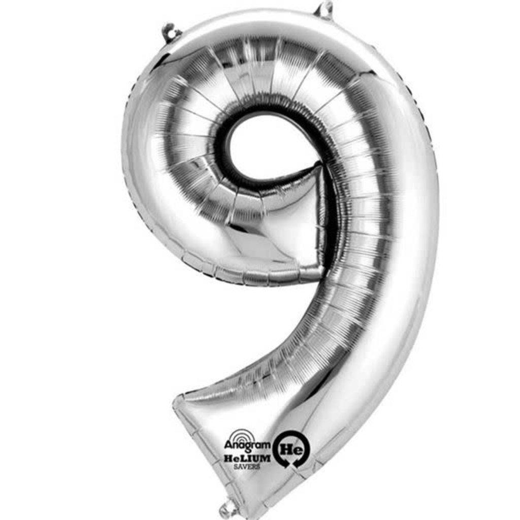 Zilveren folieballon - Cijfer 9 - 86cm