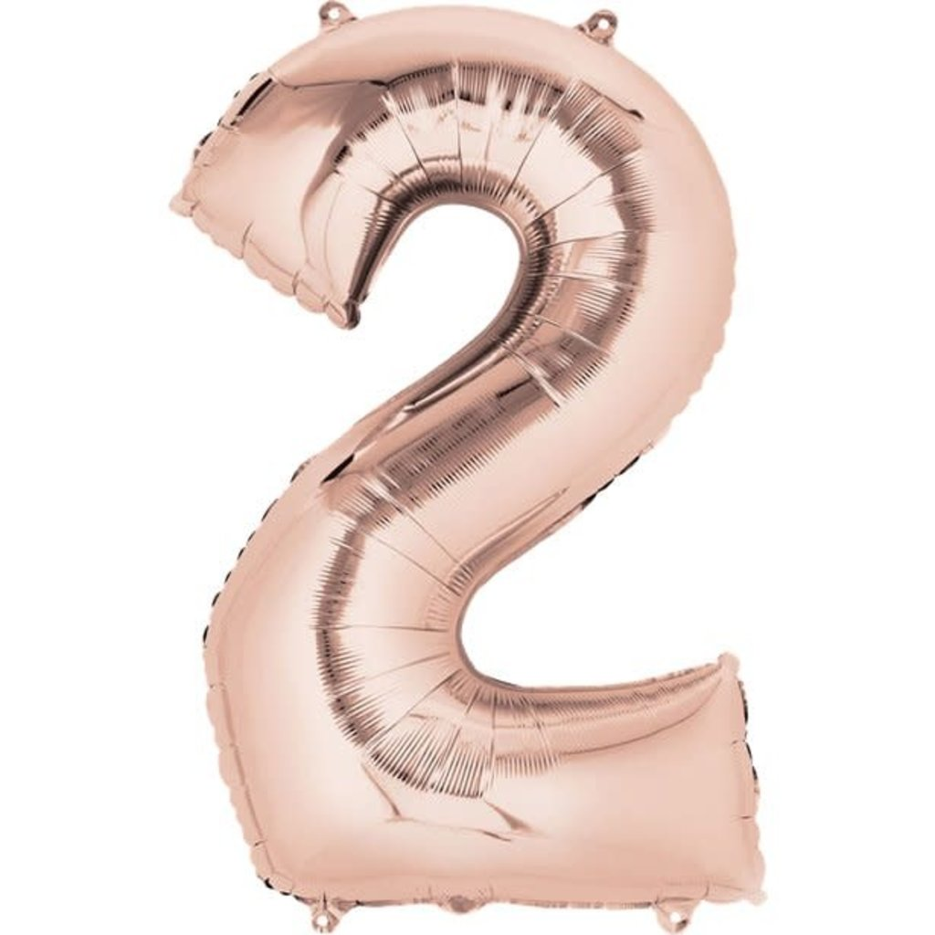 Rosé-gouden folieballon - Cijfer 2 - 86cm