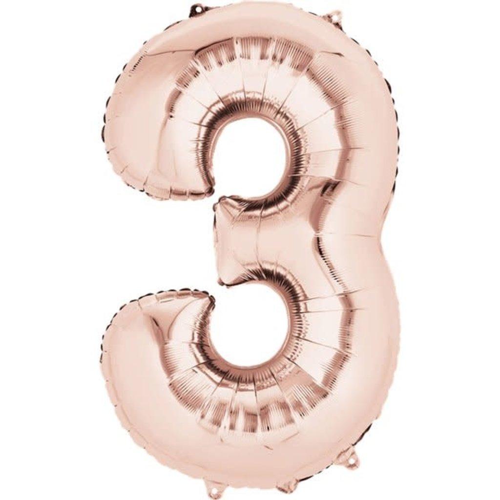 Rosé-gouden folieballon - Cijfer 3 - 86cm