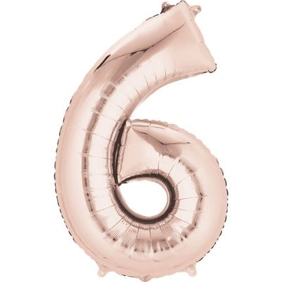 Rosé-gouden folieballon - Cijfer 6 - 86cm