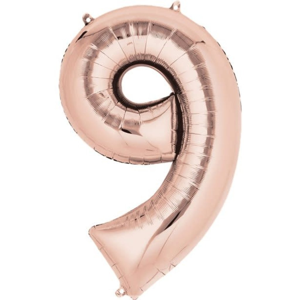Rosé-gouden folieballon - Cijfer 9 - 86cm