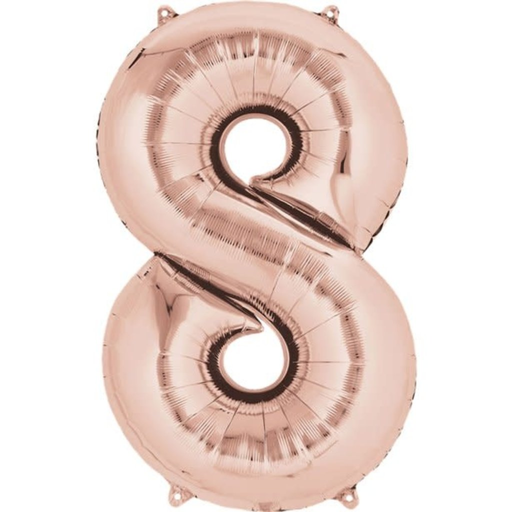Rosé-gouden folieballon - Cijfer 8 - 86cm