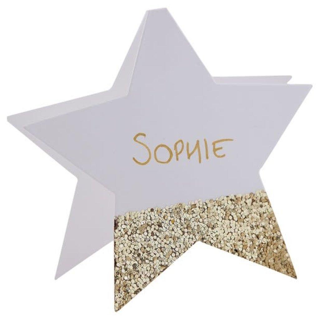 Naamkaartjes Gold glitter star (6st.)