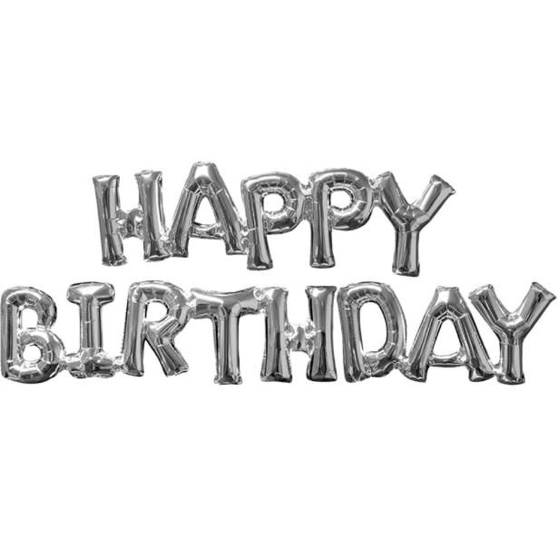 Zilveren folieballon - HAPPY BIRTHDAY