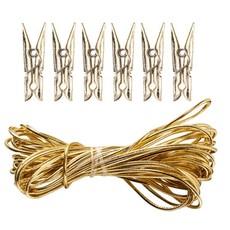 Merry & Bright gouden touw en mini-wasknijpers