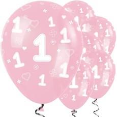 Sempertex 1ste verjaardag ballon roze (25st.) 30 cm