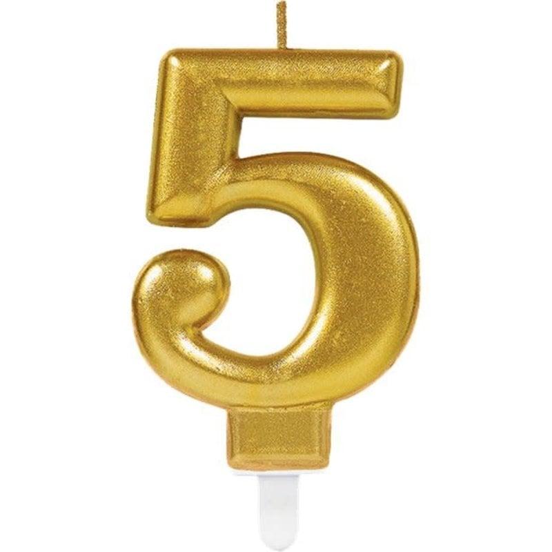 5de verjaardagskaars (goud)