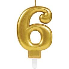 6de verjaardagskaars (goud)