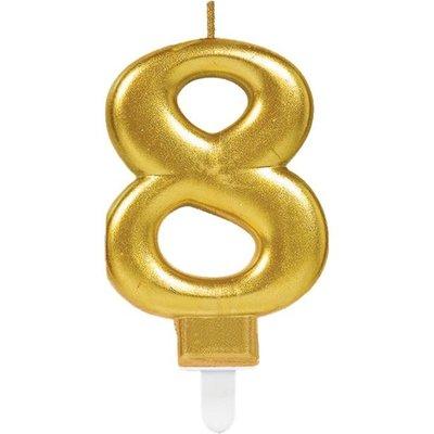 8ste verjaardagskaars (goud)