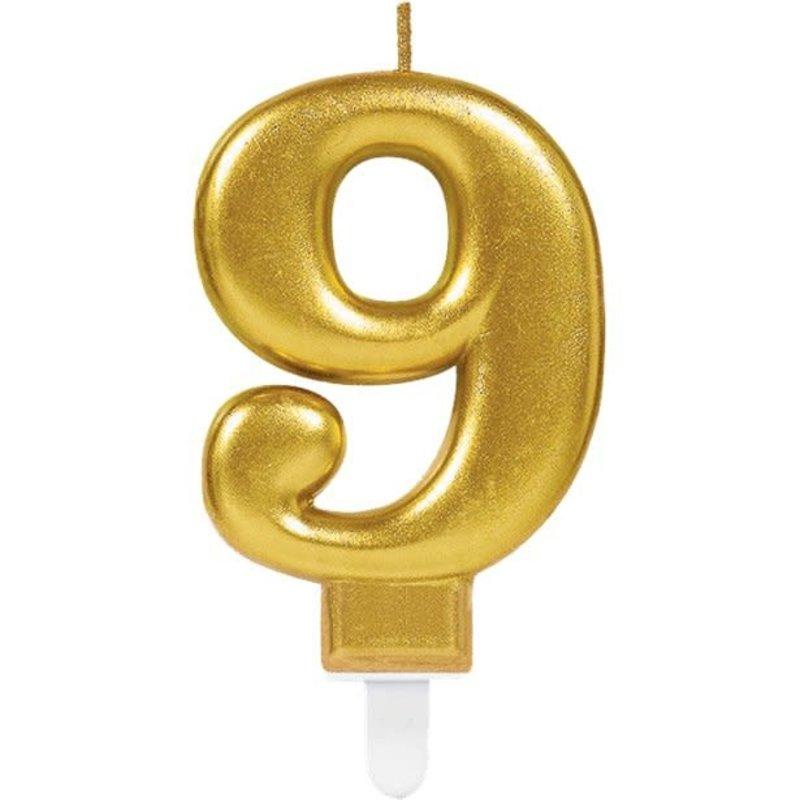 9de verjaardagskaars (goud)