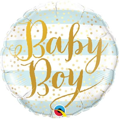 Qualatex Blauw gestreepte folieballon Baby Boy - (46 cm)