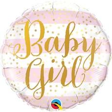 Roze gestreepte follieballon Baby Girl (45 cm)