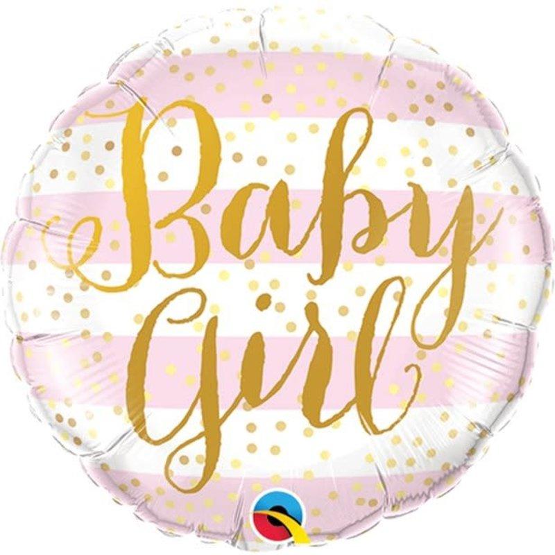 Roze gestreepte follieballon - Baby Girl (45 cm)