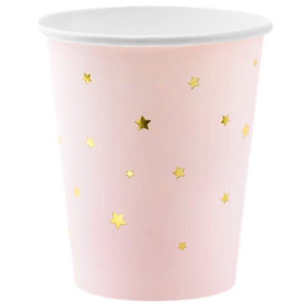 Partydeco Little Star drinkbekers - roze