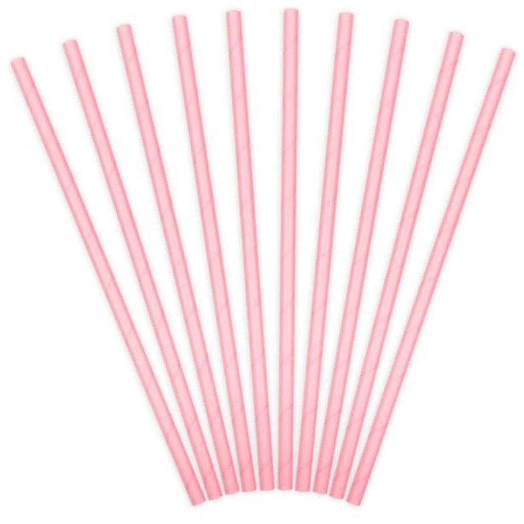Partydeco Papieren rietjes - roze(10st.)
