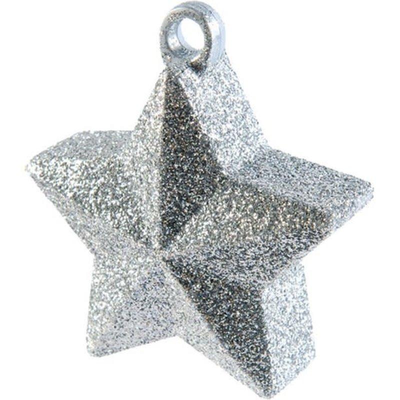 Ballongewicht ster (zilver glitter) - 130gr.