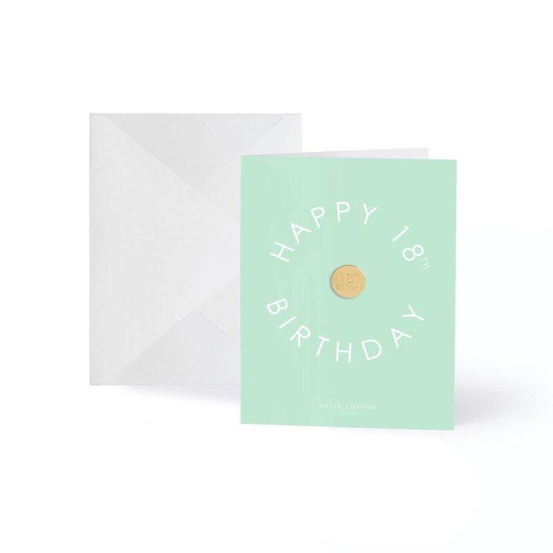 Katie Loxton Wenskaart (gouden pin) - Happy 18th Birthday