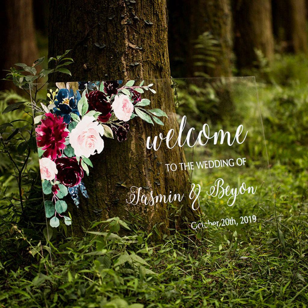 Janice Paper Welkomstbord (transparant) - Boho flowers