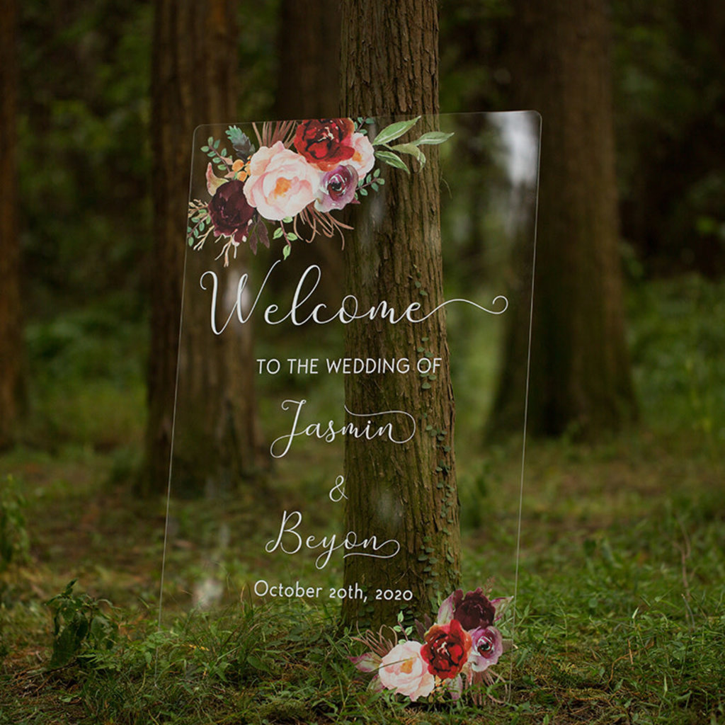 Janice Paper Welkomstbord (transparant) - Blush floral