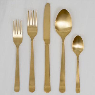 Verhuur - Gouden bestekset (5-delig)