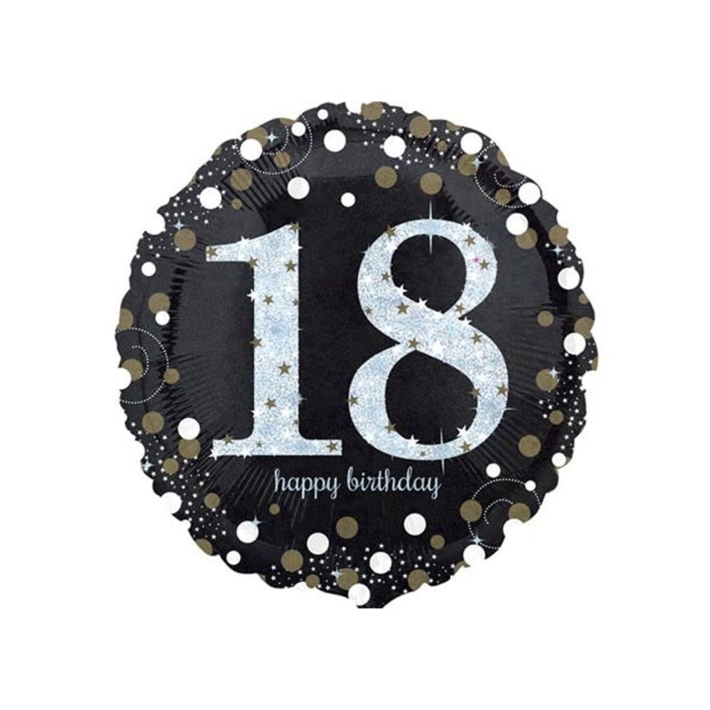Sempertex Glitter Happy Birthday 18 - Folieballon (45cm)
