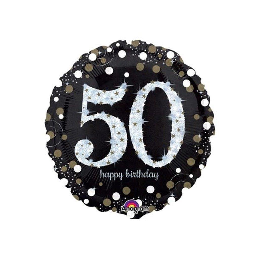 Sempertex Glitter Happy Birthday 50 - Folieballon (45cm)
