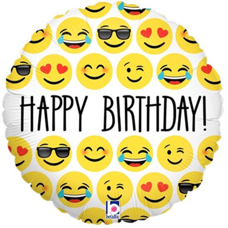 Happy Birtthday emoji - Folieballon (45cm)