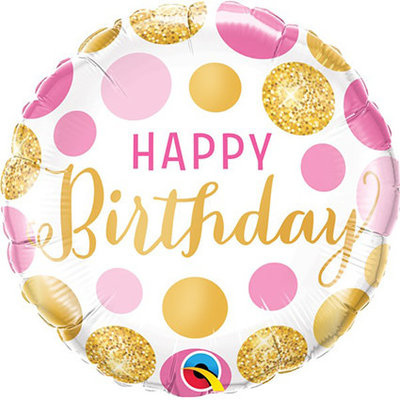 Folieballon Happy Birthday gold/pink (18inch)