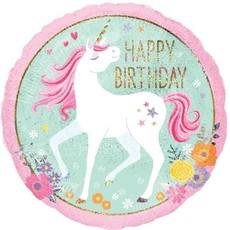 Folieballon Happy Birthday unicorn (18inch)