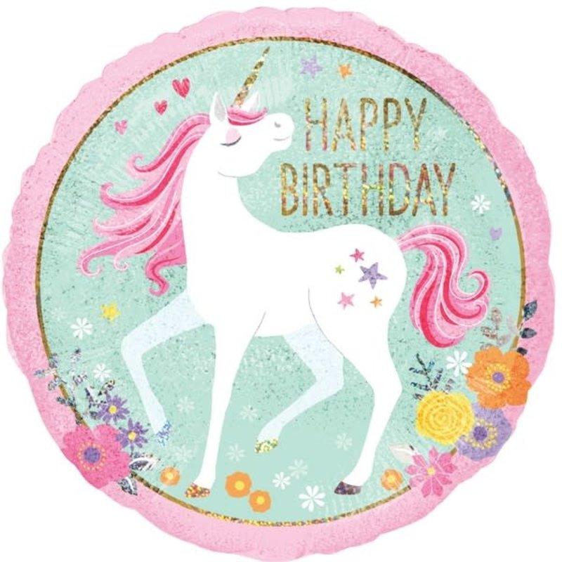 Happy Birthday unicorn - Folieballon (45cm)