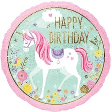 Happy Birthday unicorn - Folieballon (45cm)