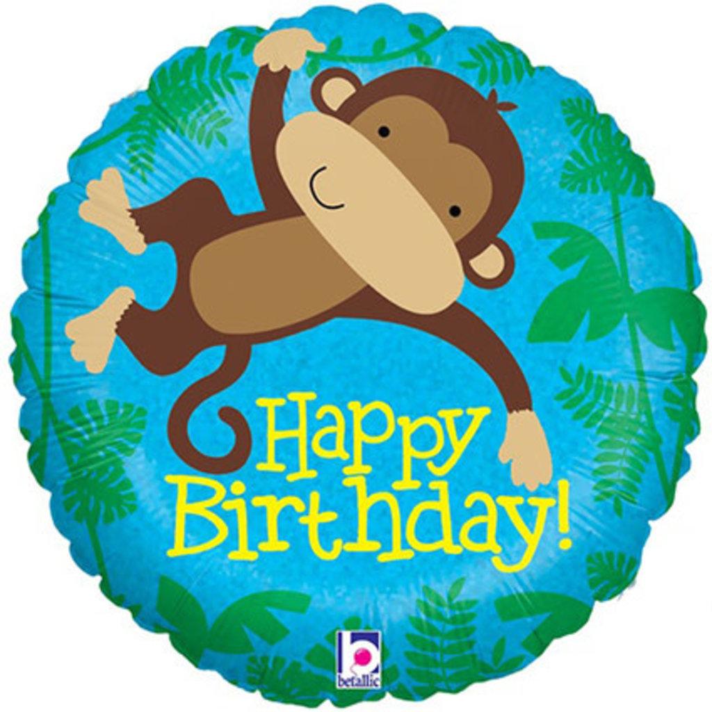 Monkey Buddy Happy Birthday - Folieballon (45cm)