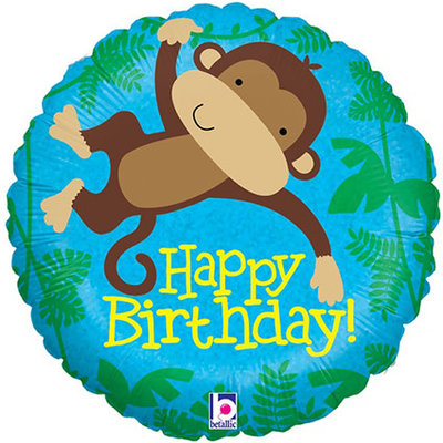 Monkey Buddy - Folieballon Happy Birthday