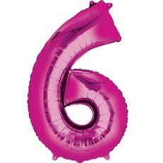 Fushia folieballon - Cijfer 6 - 40cm