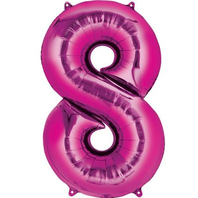 Fushia folieballon - Cijfer 8 - 40cm