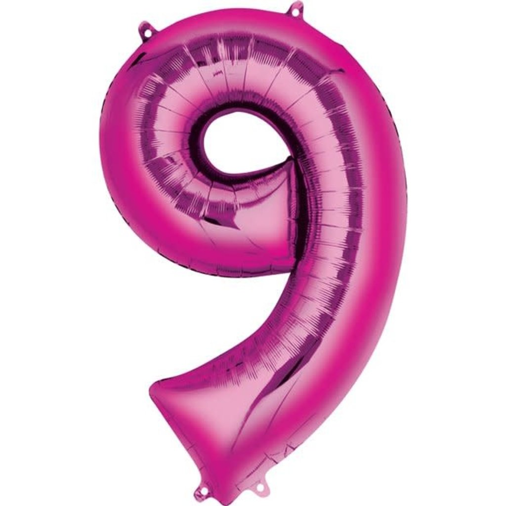 Fushia folieballon - Cijfer 9 - 40cm