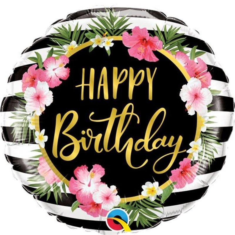 Qualatex Happy Birthday Hibiscus Flower - Folieballon (45cm)