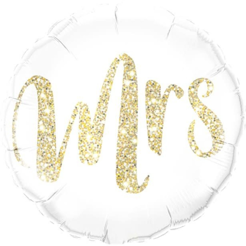 Qualatex Gold Glitter Mrs- Folieballon (45cm)