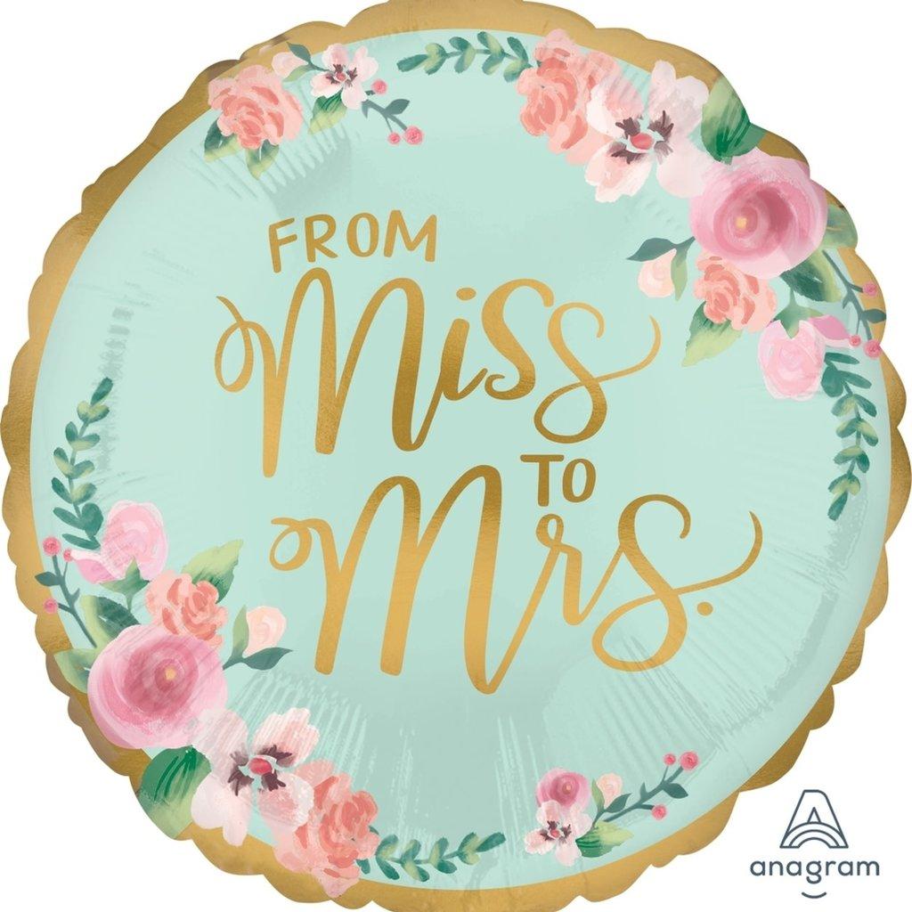 "From Miss to Mrs. - Folieballon (18"")"