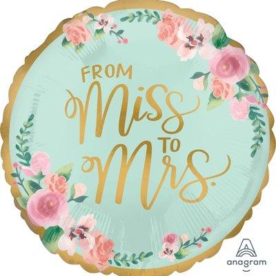 Anagram From Miss to Mrs. - Folieballon (45cm)
