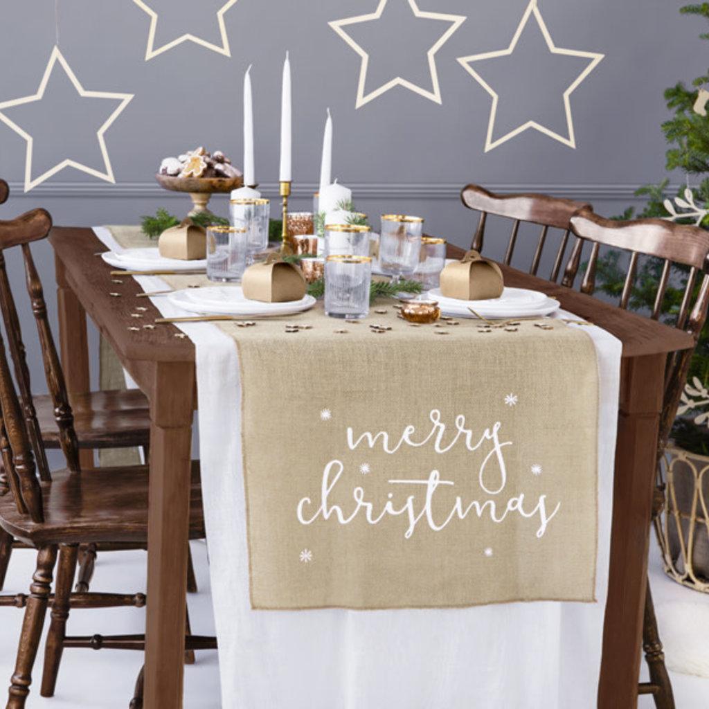 Jute tafelloper - Merry Christmas