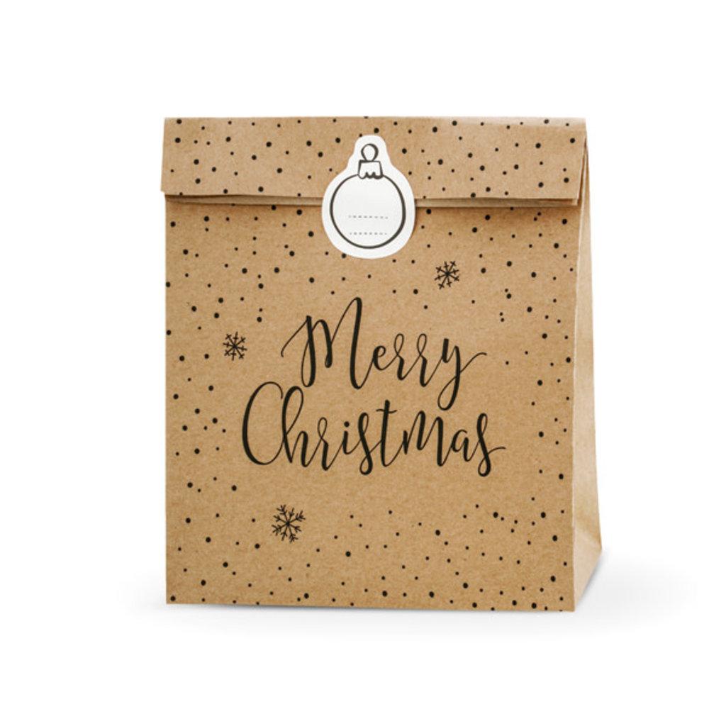 Merry Christmas - Geschenkzakje kraft (3st.)